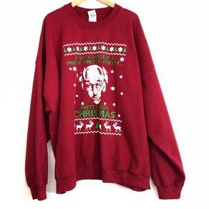 Men's Larry David Ugly Christmas Sweater Burgundy